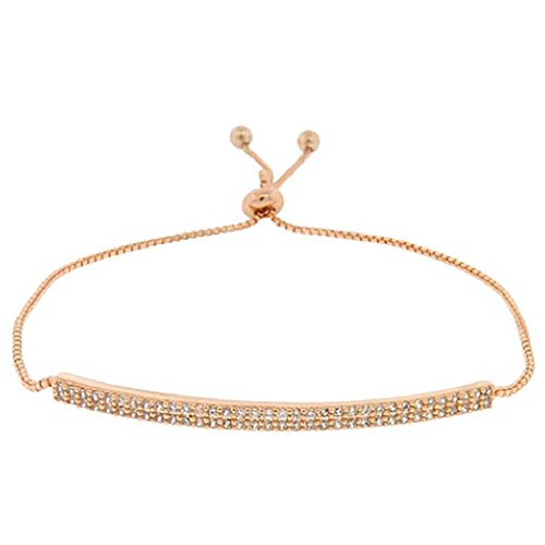 Rosemarie Collections Women's Cubic Zirconia Pave Bar Adjustable Slide Bracelet (Rose Gold - Slide Collection Bar