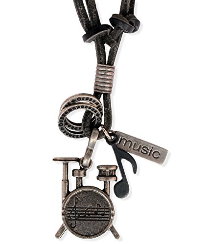 Ebsem Music Musical Instruments Necklace, Genuine Leather Cord Surfer Jewelry for Men & Women (Drum) ()