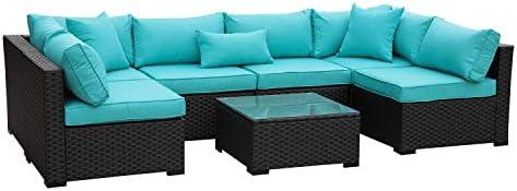 Patio PE Rattan Furniture Set 7 Piece Outdoor Garden PE Wicker Sectional Sofa Set Turquoise Cushion