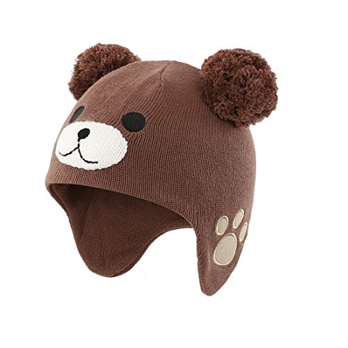 Earflap Pom Hat Cap - LLmoway Kids Beanie Hat Toddler Boys Knit Cap Winter Warm Cute Earflap Skull Pom Pom Hat Brown, 2-ply