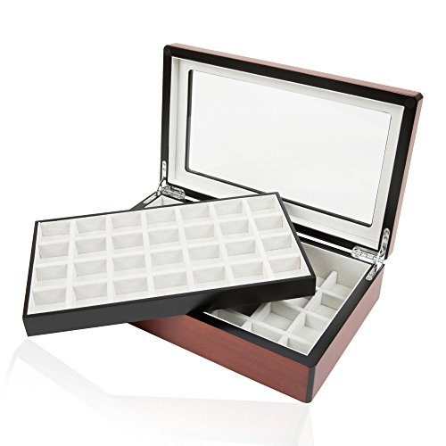 Cuff Links Walnut Double-Decker Storage Box/Case for up to 58 Pairs by (Double Cuff)