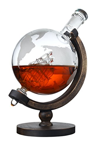 The Wine Savant 1000ML World Globe Decanter, For Whiskey, Scotch, Spirits, Wine Or Vodka with Antique Ship, Perfect For Valentines Day (1000ML)