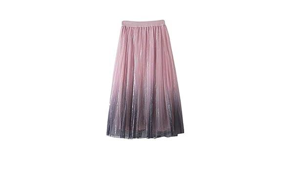 justHIGH Skirt Falda Larga tutú de Tul para Mujer, Color Degradado ...