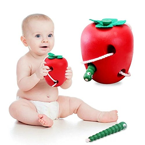 Montessori Wooden Early Educational Toys Caterpillar Eat Apple Beaded String Line Wearing Rope Baby Toys,Juguete Brinquedo For 1-10 (Thing 1 And Thing 2 Costume Ideas)