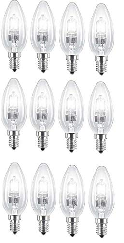 Small Edison Screw Cap Mains 240V =55W-60W SES E14 Eco Classic Light Bulbs 630 Lumen 4 x Energy Saving Halogen Candles 42W Dimmable Lamps