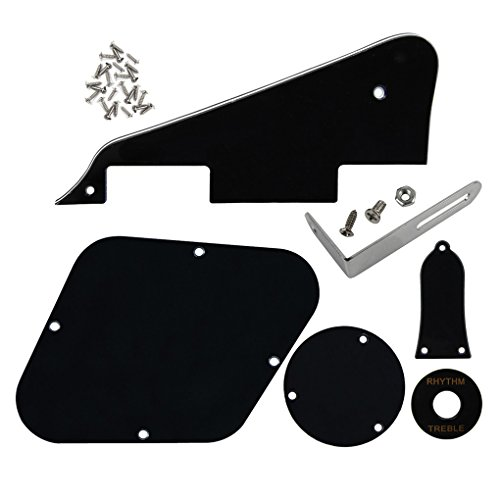 FLEOR Set of 3Ply Black Electric Guitar Pickguard & Control Cavity Cover & Switch Cavity Cover & Black Toggle Switch Plate & Truss Rod Cover Plate & Silver Bracket for LP Style Guitar, inc. Screws (Explorer Guitar Style Electric)