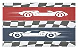 Lunarable Nursery Doormat, Auto Racing Cars Logo Flag Winner on Road Popular Illustration, Decorative Polyester Floor Mat with Non-Skid Backing, 30' X 18', Coral Night