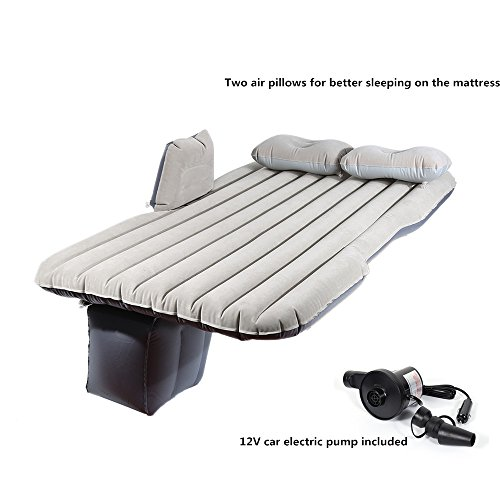 Car Mattress Travel Air Bed Inflatable Mattress Camping Universal with Air Pump,Two Pillows Light Gray