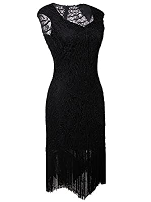 Vijiv Vintage 1920s Inspired Embellished Beaded Lace Cocktail Flapper Dress