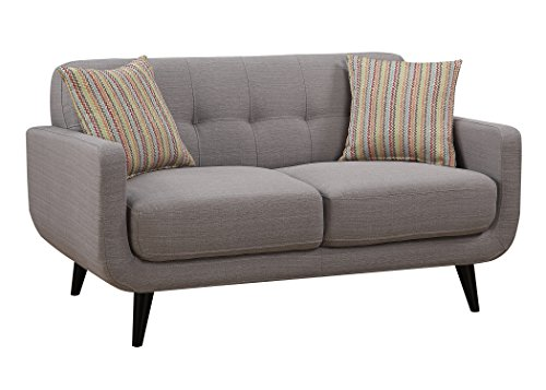 Polyester Loveseat Upholstered - AC Pacific Crystal Collection Upholstered Gray Mid-Century Tufted Loveseat with 2 Accent Pillows, Gray