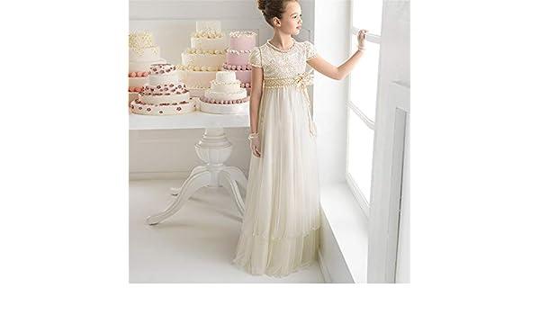 Cvbndfe Suave Flor de los niños Ropa para niños Vestido de Novia Encaje Cintura Alta Elegante Falda Larga Mostrar Cumpleaños Vestido de Princesa Niña ...