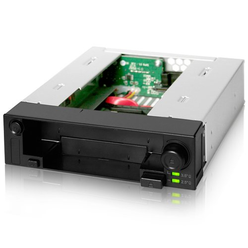 - ICY DOCK DuoSwap MB971SP-B 5.25 Inch Hot Swap Drive Caddy / Docking for 2.5 Inch & 3.5 Inch SATA Hard Drive/SSD