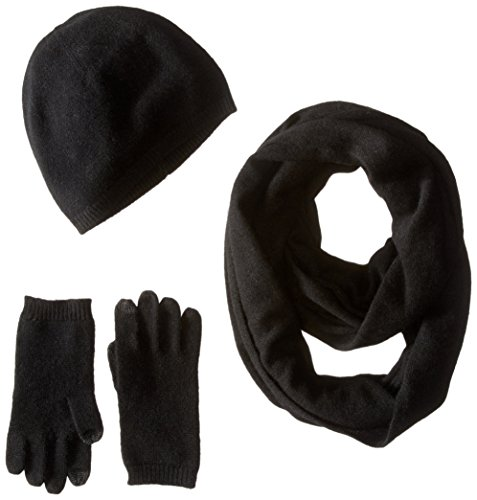 Sofia Cashmere Women's Gift Box Set - Hat, Smartphone Gloves, and Infinity Scarf, black, ONE by Sofia Cashmere