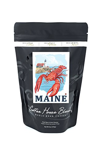 Lighthouse - Maine (8oz Whole Bean Small Batch Artisan Coffee - Bold & Strong Medium Dark Roast w/ Artwork) (Lobster Portland Maine)