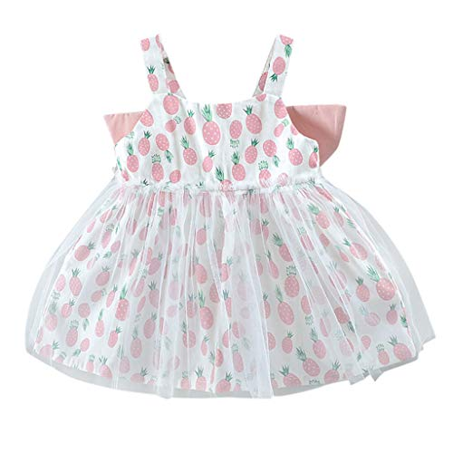 MALLOOM Toddler Kid Baby Girl 3D Wing Fruit Print Tulle Party Princess Dress Clothing Pink