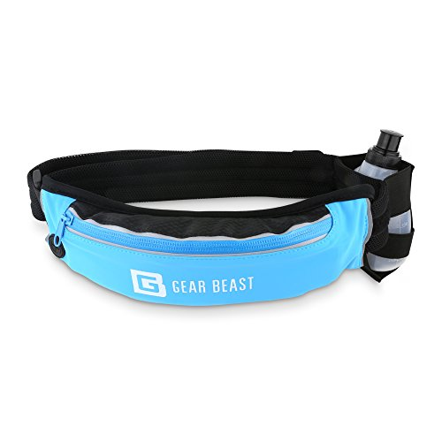 Gear Beast Running Belt Fanny Pack Waist Bag. Waterproof Bounce Free Pouch, Hydration Holster with BPA Free Bottle, Adjustable Padded Belt, for iPhone X 8 7 6s 6 Plus Galaxy S6 S7 Edge S8 Plus Note 8