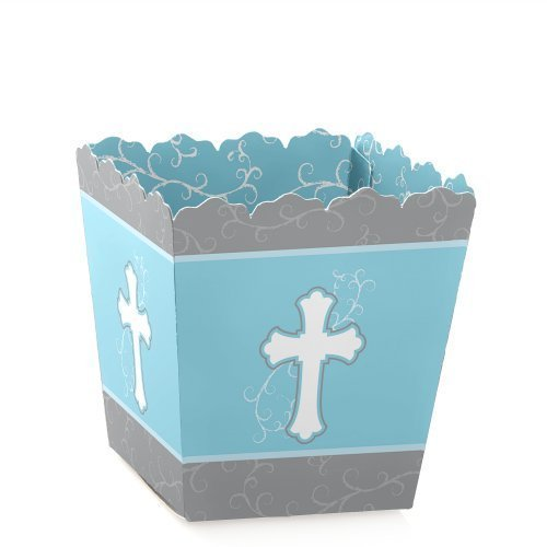 First Communion Candy (Little Miracle Boy Blue & Gray Cross - Candy Boxes Baby Shower or Baptism Favors (Set of 12))