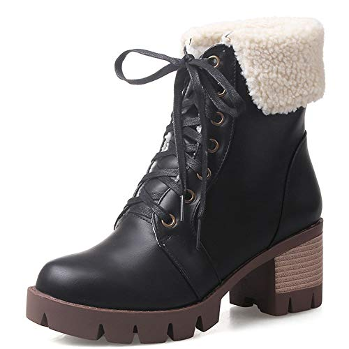 - DecoStain Women's Flat Platform Snow Boots Lace Up Stacked Heel Winter Warm Ankle Boots
