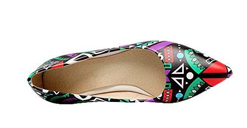 VogueZone009 Women's Pointed-Toe Kitten-Heels Microfiber Court Shoes Purple D6nj1wHF