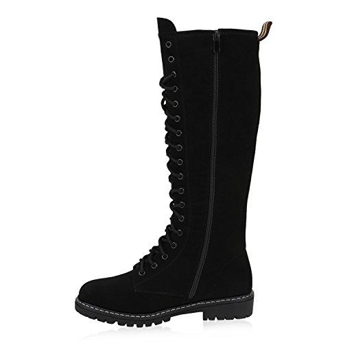 Stiefelparadies Damen Schuhe Schnürstiefel Biker Boots Schnallen Metallic Stiefel Flandell Schwarz Autol