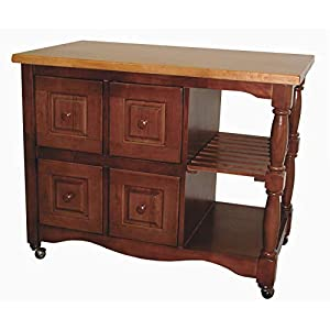 Sunset Trading Regal Kitchen Cart with Light Oak Top, Nutmeg