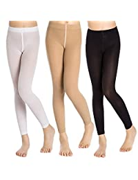 Aaronano Little Girls' Footless Solid Color Tights 3-Pair-Pack