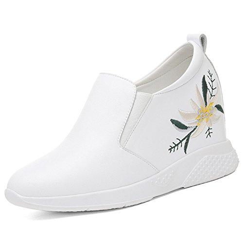 GTVERNH-Einzelne Schuh Frau Frühling Bestickt Runden Kopf Weiß Innere Verschärfen Flachen Boden Casual Schuhen Bequeme Schuhe Weiß Kopf 224c8f