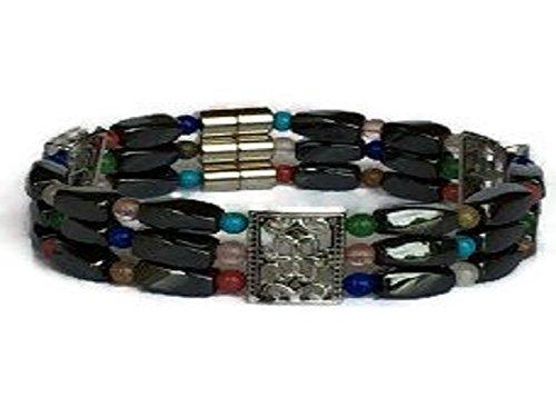 - MariVilla Hematite Magnetic Triple-Multi-Stone Bracelet