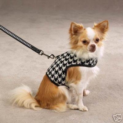 Zack & Zoey Dog Houndstooth Harness Vest - Black - Size XXS