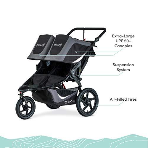 41Dki8VbhcL - BOB Gear Revolution Flex 3.0 Duallie Double Jogging Stroller | Smooth Ride Suspension + Easy Fold + Adjustable Handlebar, Graphite Black [New Logo]