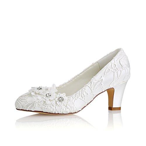 KUKIE Best 4U® Zapatos de Boda de Las Mujeres de Encaje Primavera Verano 6.5 CM Talones Chunky Apliques Rhinestone Novia Dama de Honor de Goma Redonda Sandalias de Noche Zapatos de Banquete, EU41