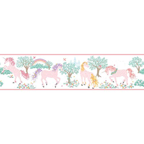(Wallpaper Border Magic Unicorn Pearlized Pink Lavender Brown Teal Cream )