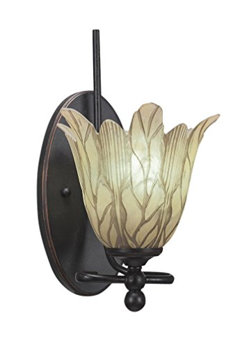 Toltec Lighting 591-DG-1025 Capri 1 Light Wall Sconce with 7″ Vanilla Leaf Glass, Dark Granite Finish