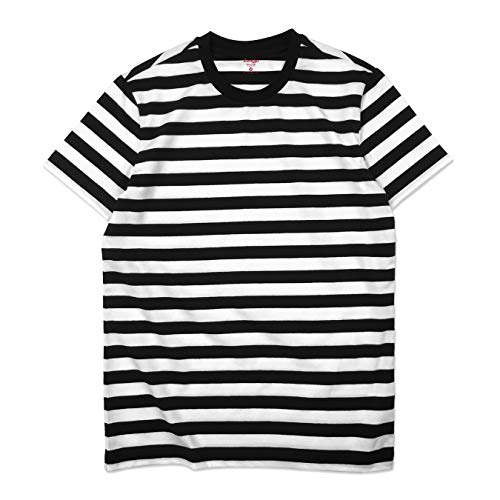 (Zengjo Essential Stripes T-Shirts Comfort Short-Sleeve Crew-Neck Striped Tee Top (M, Black&White)