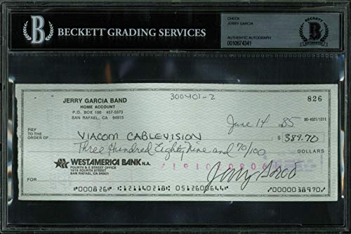 - Grateful Dead Jerry Garcia Signed 3x8 Check Dated June 14, 1985 BAS Slabbed - Beckett Authentication
