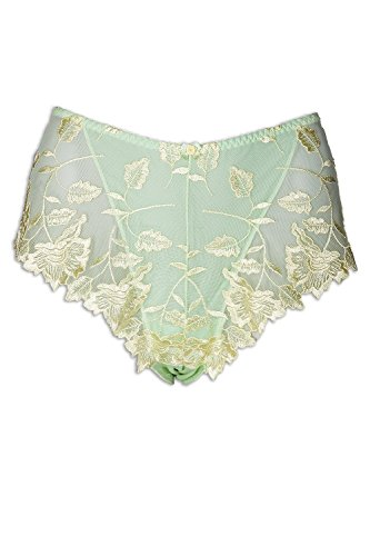 Camille Lemon Floral Leaf Embroidered Lime Green Mesh Boxer Shorts 16/18 (Camille Hipster)