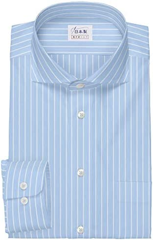 ワイシャツ 軽井沢シャツ [A10KZW418]ワイドスプレッド ライトブルー×ホワイトストライプ らくらくオーダー受注生産商品
