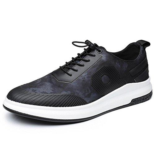 Hombres Corriendo Entrenadores Respirable Gimnasio Para caminar Zapatos Ligero Atlético Zapatillas Casual Deportes Cuero Negro Al aire libre Black