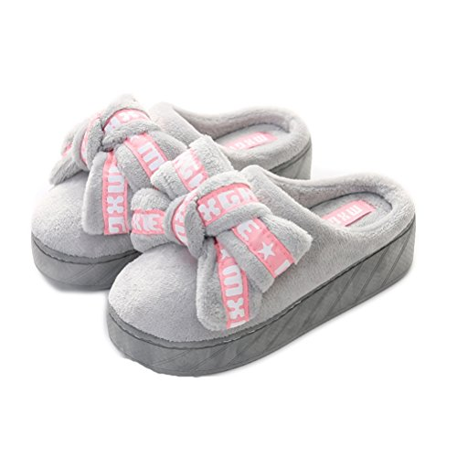 Auspicious beginning Women Casual Winter Platform Bow tie Shoes Wedges Outdoor Slippers Grey