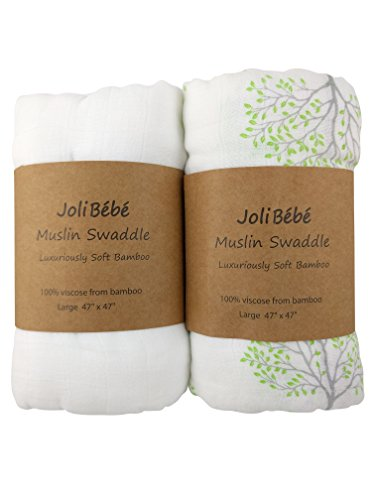 JoliBebe Baby 100% Bamboo Muslin Swaddle Blanket | Unisex For Boy Or Girl | Extra Large 47x47 inch Silky Soft White and Green Tree (2 Pack)