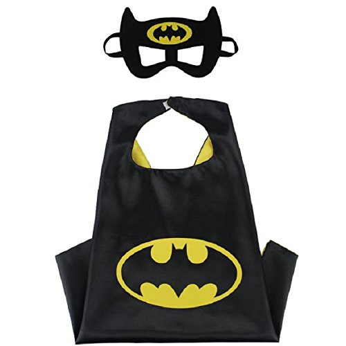 Blingbling Superhero Cape & MASK Set Kids Childrens Halloween Costume Batman ()