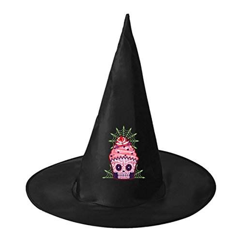 Sugar Skull Homemade Costume (Cup Cake Sugar Skull Conical Cosplay Witch Hat Toy to Halloween Costume Ball for Unisex Kids Adults)