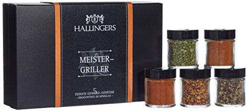 Hallingers Gewürz Meistergriller, Set/Mix, 5x Miniglas in MiniDeluxe-Box, 1er Pack (1 x 80 g)
