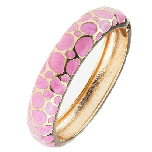 UJOY Indian Enamel Jewelry Gold Plated Bracelet Handmade Circular Colored Spring Wide Cuff Bangle 55C41 Pink