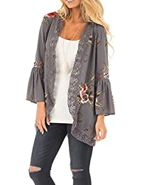 Women's 3/4 Flare Sleeve Floral Print Casual Kimono Cardigan Blouse Top
