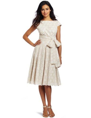Jones New York Women's Eyelet Bateau Wrap Waist Dress