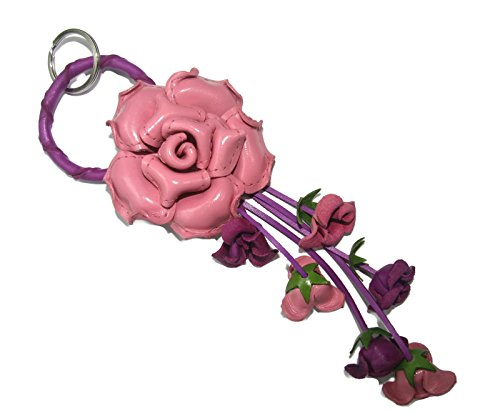 Key Ring Leather Flower - Bella Pazzo Pink color Handmade Rose Flower Leather Keychain Key Ring Clasp Bag Charm Handbag Purse charm Car Key Pendant