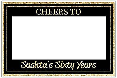 ANY AGE Cheers to Years Birthday Selfie Frame Gold Glitter Social Media Photo Booth Prop Poster