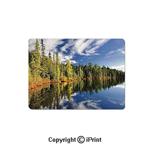 Gaming Mouse Pads, Elegant Forest Reflecting on Calm Lake Shore at North Canada Universe Art Print Non Slip Rubber Mousepad,7.1x8.7 inch,Green Blue White - North Marble Shore