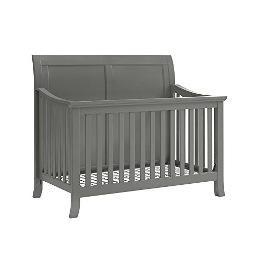 Baby Relax Hollis 4-in-1 Convertible Crib, Graphite Gray - Da Vinci Sleigh Toddler Bed